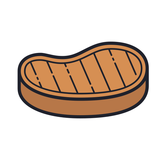 Steak icon. This is an icon representing a Steak. It is somewhat oblong, similar in shape to a t-bone steak but lacking The title bone. There is a border of fat around the edge and a circle representing the bone.