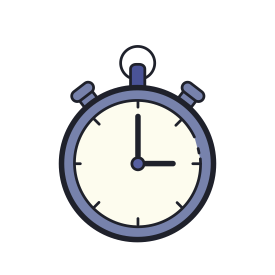 Stoper icon. A stopwatch is something that ticks and is handheld. It is circular with a little timer in the right so that you can click it and start + stop time. It has hands that keep track of how many seconds it has been.
