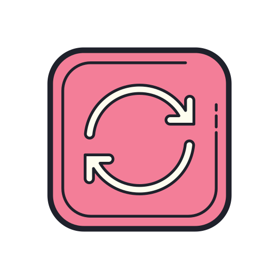 Synchronize icon. There are 2 circular lines following each other with an arrow on the ends of the circular lines. The are working together as a revolving circle to complete a rotation.