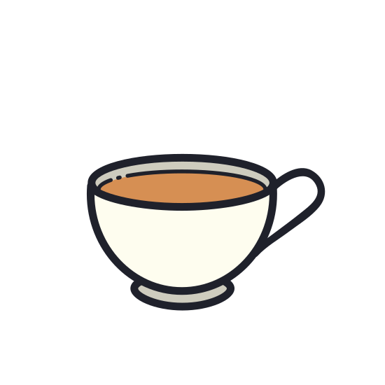 Taza de té icon. This is a picture of a cup of tea. it has a slanted base at the bottom and the top of it is pretty wide. it's handle is also pictures and it shaped like a half of a heart.