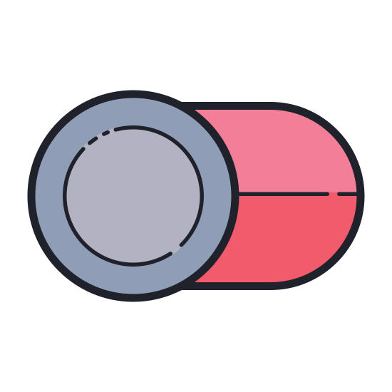 "Toggle Off icon. It is a logo of an ""off"" button. There is a small circle on the left, inside larger pill shaped oval. By swiping the circle to the right, the object can be switched to ""off""."
