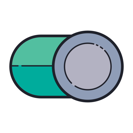 Toggle On icon. This icon looks like a switch which can be toggled by sliding left to right. The border of the switch is a rounded oval, and the button itself is a circle which slides between two positions from left to right. The icon shows the circle in the right position.