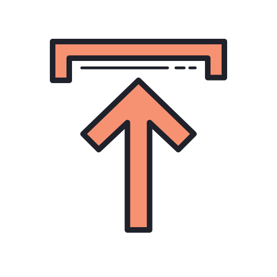 Upload icon. This is a picture of a box with an arrow coming out of the top of it. The box has an opening at the top, and the arrow is facing upwards. It is not very far out of the square.