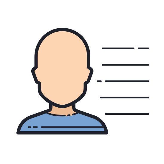User Menu Male icon. This is a picture of the silhouette of a man's chest and face. to the right side of the man is three lines stacked on top of each other. the man does not have any eyes, nose, or a mouth.