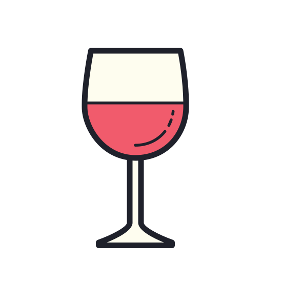 Taça de vinho icon. It's a logo for a wine glass with a half circle that is facing up with a triangular stem at the base. There is a line going through the half circle to show that it has wine in it.