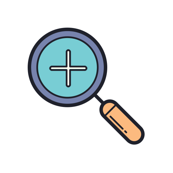 Zoom In icon. The icon is a magnifying class with a cross, or plus sign in the middle of the lens. The lens is the largest part of the icon, and the handle faces downward and to the right at a 45 degree angle from the lens.