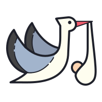Flying Stork With Bundle icon