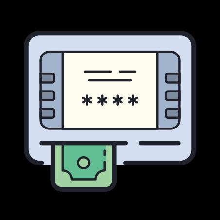 ATM icon in Color Hand Drawn