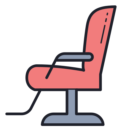 Barber Chair icon in Color Hand Drawn