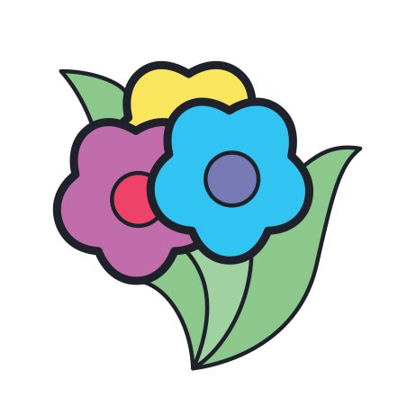 Flower Bouquet icon in Color Hand Drawn