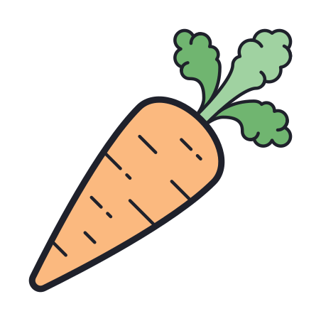 Carrot icon in Color Hand Drawn