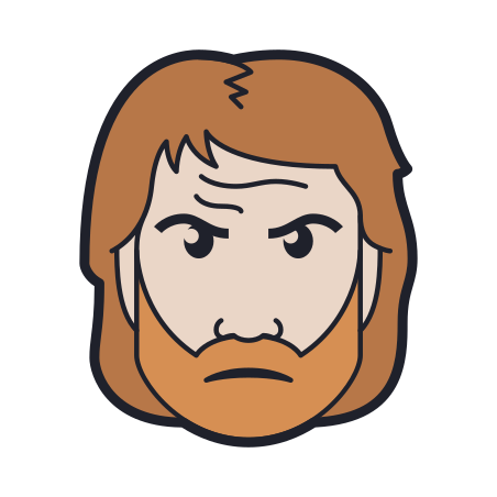 Chuck Norris icon in Color Hand Drawn