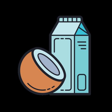 Coconut Milk icon in Color Hand Drawn