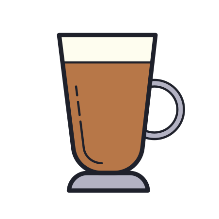 Coffee icon in Color Hand Drawn
