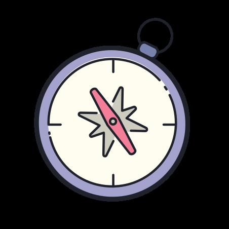 Compass icon in Color Hand Drawn