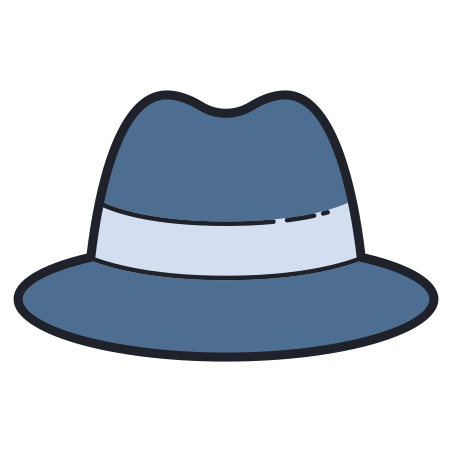 Detective Hat icon in Color Hand Drawn