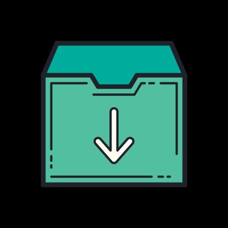 다운로드 icon in Color Hand Drawn