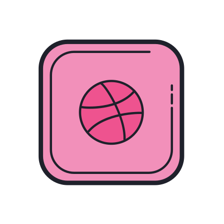 Dribbble icon in Color Hand Drawn
