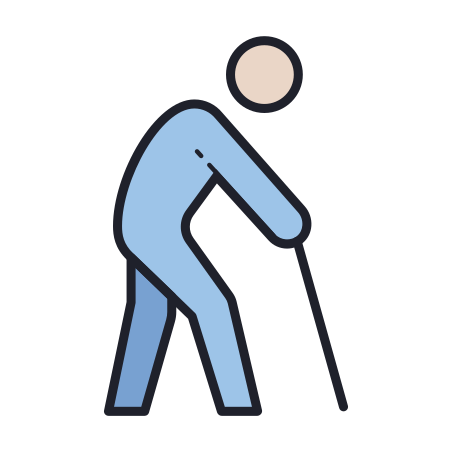 Elderly Person icon in Color Hand Drawn