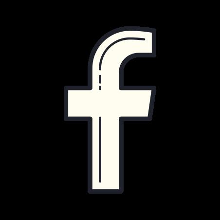 Facebook F icon in Color Hand Drawn