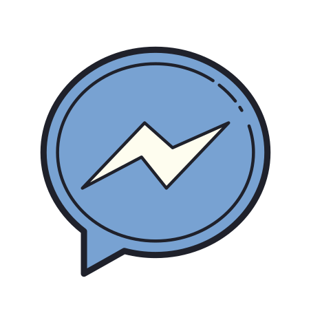 Facebook Messenger icon in Color Hand Drawn