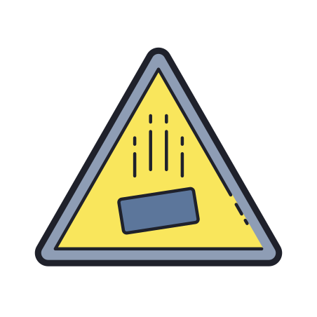 Falling Objects Hazard icon in Color Hand Drawn