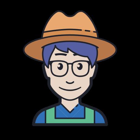 Farmer icon in Color Hand Drawn