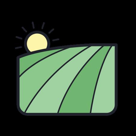 Field icon in Color Hand Drawn