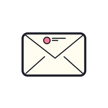 Envelope icon in Color Hand Drawn