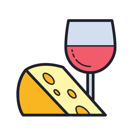 Food And Wine icon in Color Hand Drawn