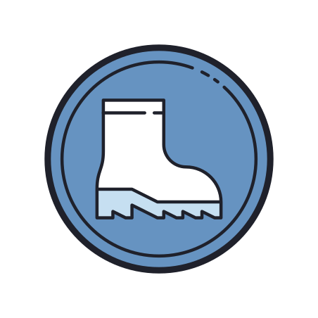 Foot Protection icon in Color Hand Drawn