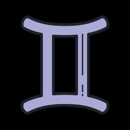 Gemini icon in Color Hand Drawn