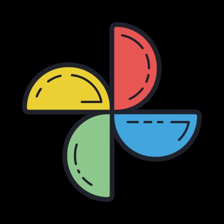 Google Photos icon in Color Hand Drawn
