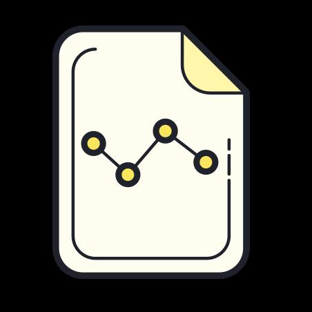 Graph Report icon in Color Hand Drawn