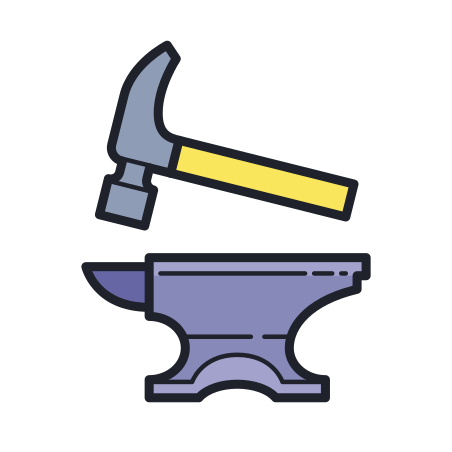 Hammer and Anvil icon in Color Hand Drawn
