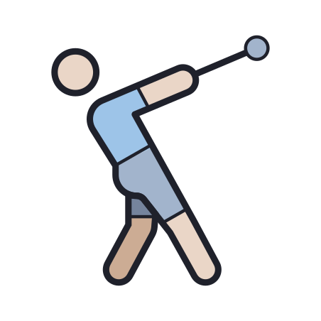 Hammer Throw icon in Color Hand Drawn