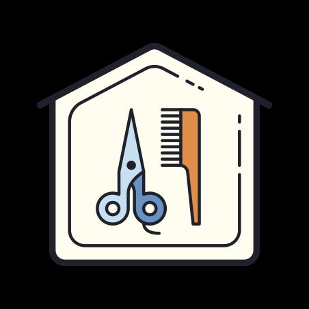 Home Salon icon in Color Hand Drawn