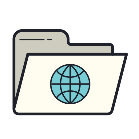 Internet Folder icon in Color Hand Drawn