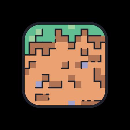 Minecraft Grass Cube icon in Color Hand Drawn
