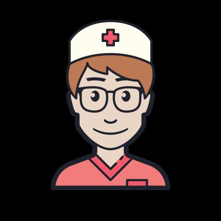 Nurse Male icon in Color Hand Drawn