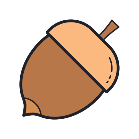 Nut icon in Color Hand Drawn
