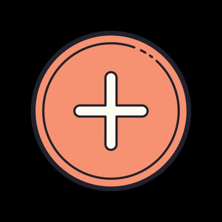 Plus + icon in Color Hand Drawn