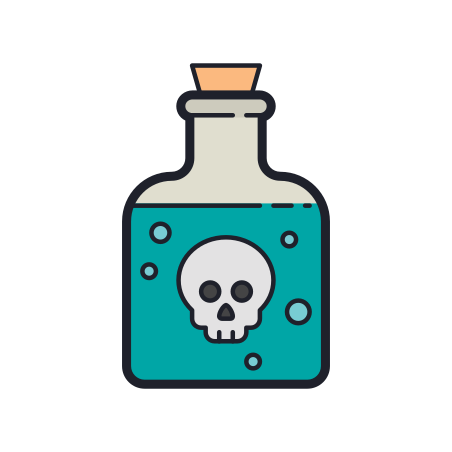 Poison Bottle icon in Color Hand Drawn