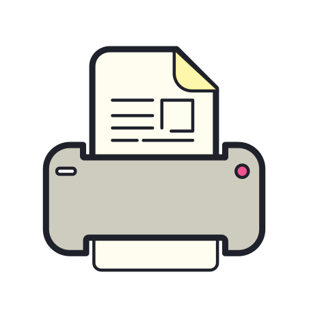 Print icon in Color Hand Drawn