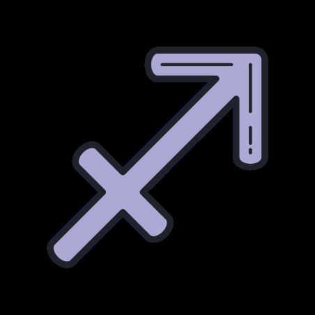 Sagittarius icon in Color Hand Drawn