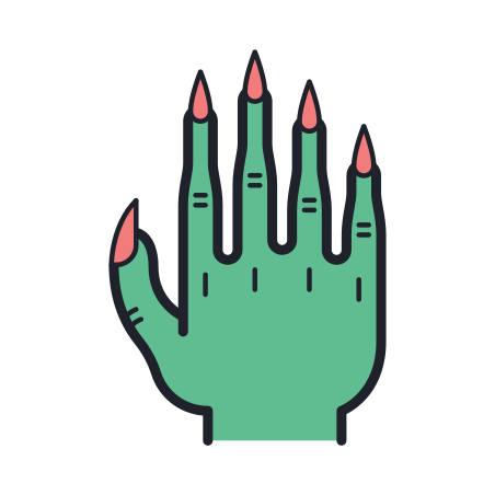 Scary Hand icon in Color Hand Drawn