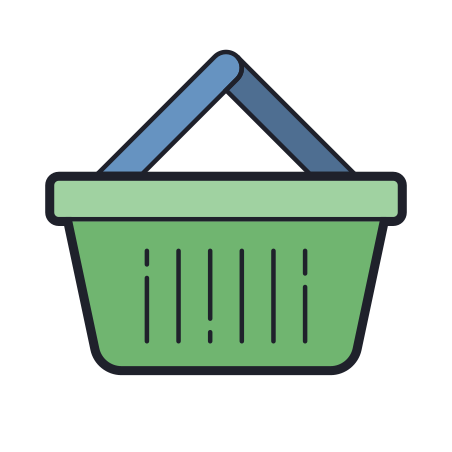 Shopping Basket icon in Color Hand Drawn