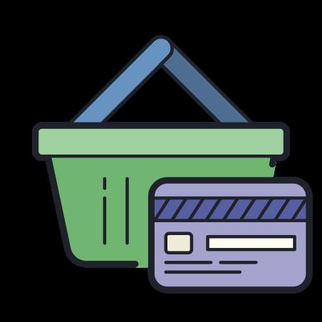 쇼핑 icon in Color Hand Drawn