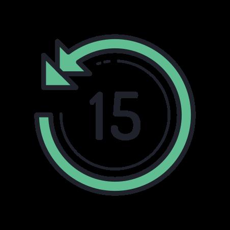 Skip 15 Seconds Back icon