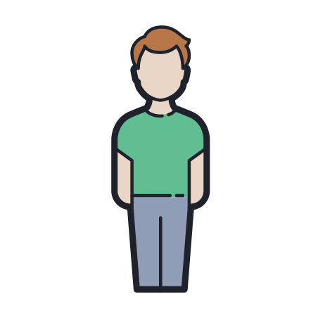 Standing Man icon in Color Hand Drawn